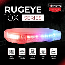 ABRAMS RED/BLUE LED RUGEYE 10-INCH ULTRA BRIGHT LIGHT BAR