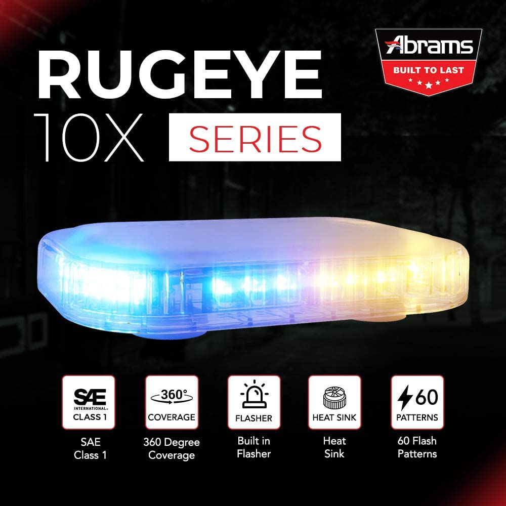 ABRAMS AMBER/BLUE LED RUGEYE 10-INCH ULTRA BRIGHT LIGHT BAR