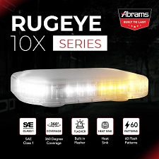 ABRAMS AMBER/WHITE LED RUGEYE 10-INCH ULTRA BRIGHT LIGHT BAR