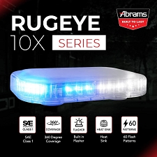 ABRAMS BLUE/WHITE LED RUGEYE 10-INCH ULTRA BRIGHT LIGHT BAR